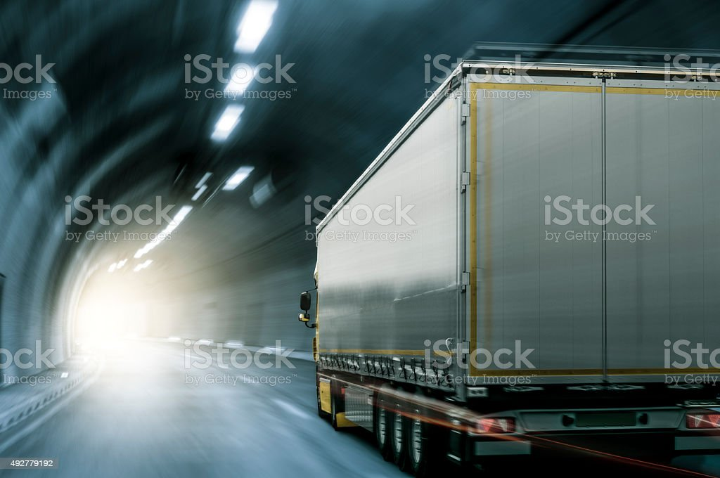 Truck in Tunnel stock photo