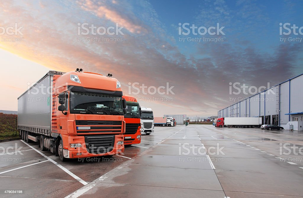 Truck in warehouse - Cargo Transport stock photo