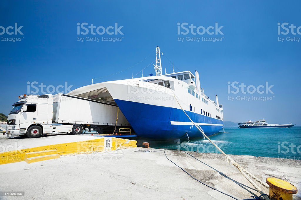 Truck leaving ferry royalty-free stock photo