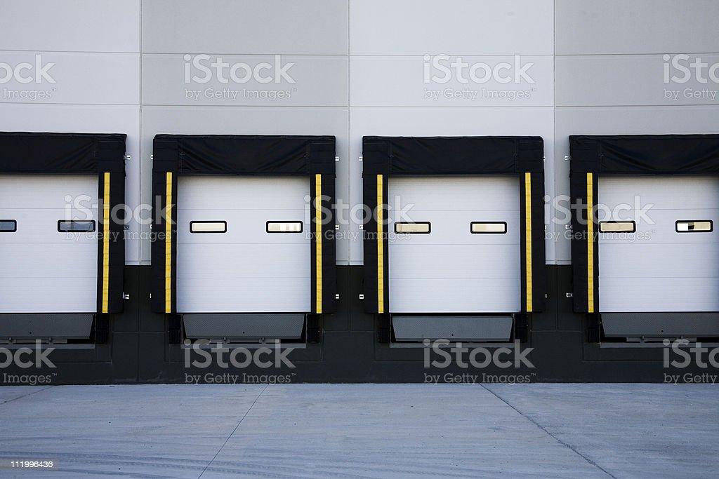 Truck loading docks stock photo