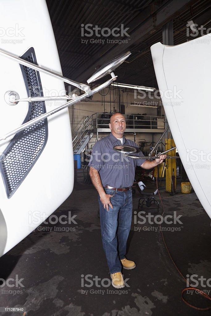 Truck mechanic stock photo