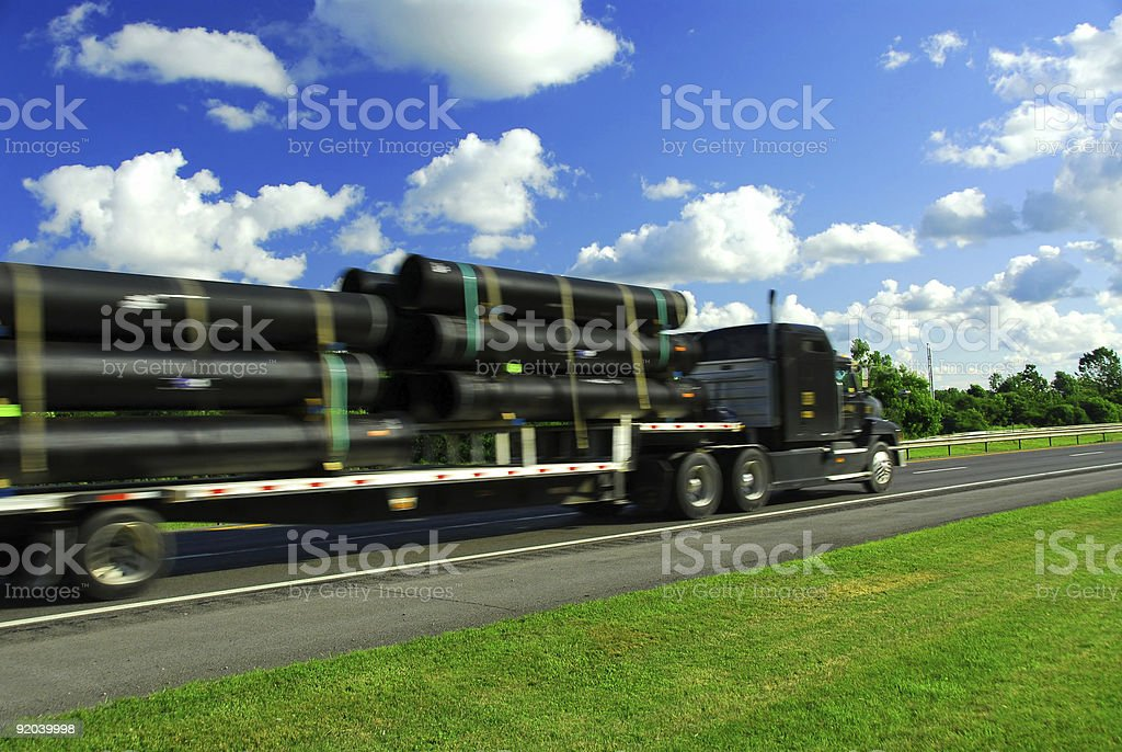 Truck move road stock photo