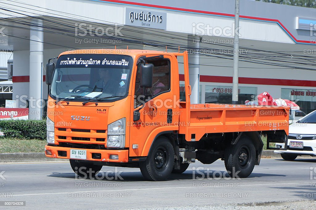 Truck of Provincial eletricity Authority of Thailand. stock photo