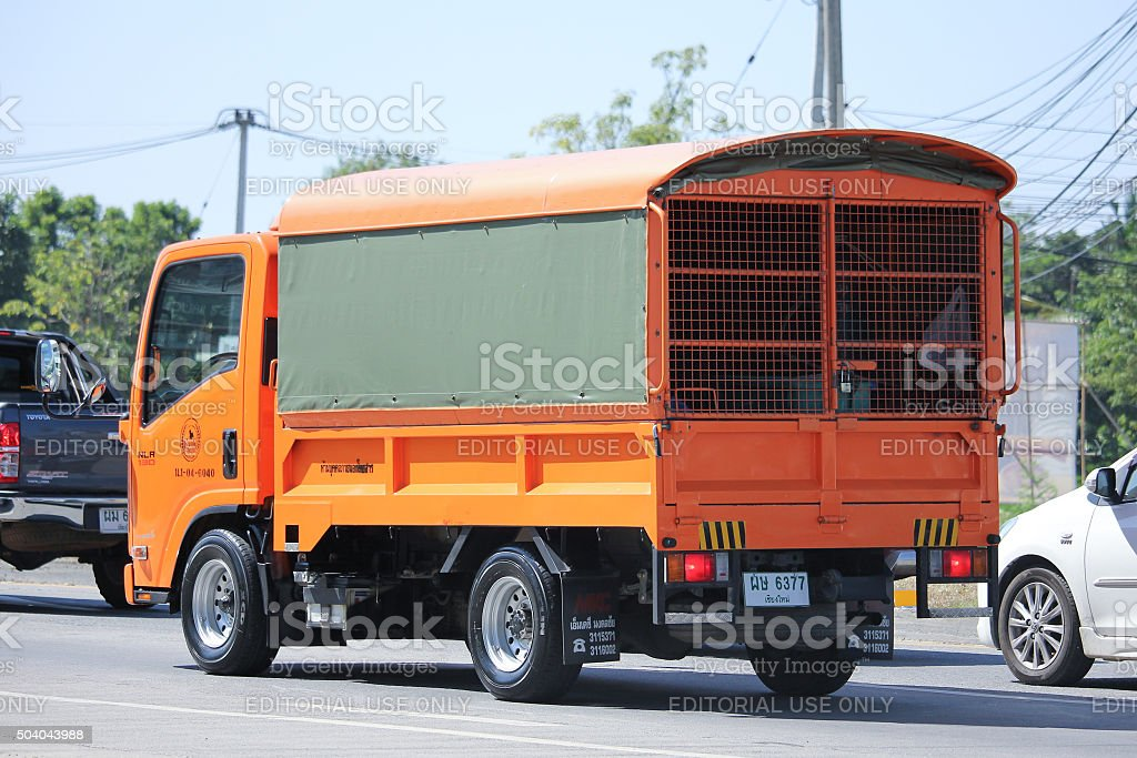 Truck of Provincial eletricity Authority of Thailand stock photo