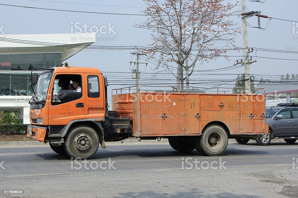 Truck of Provincial eletricity Authority of Thailands stock photo