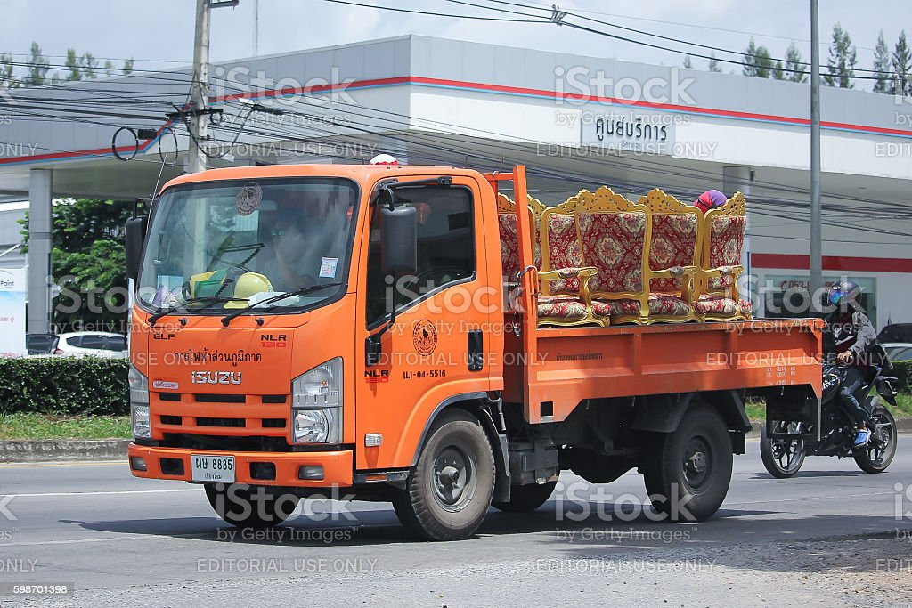 Truck of Provincial eletricity Authority of Thailands. stock photo