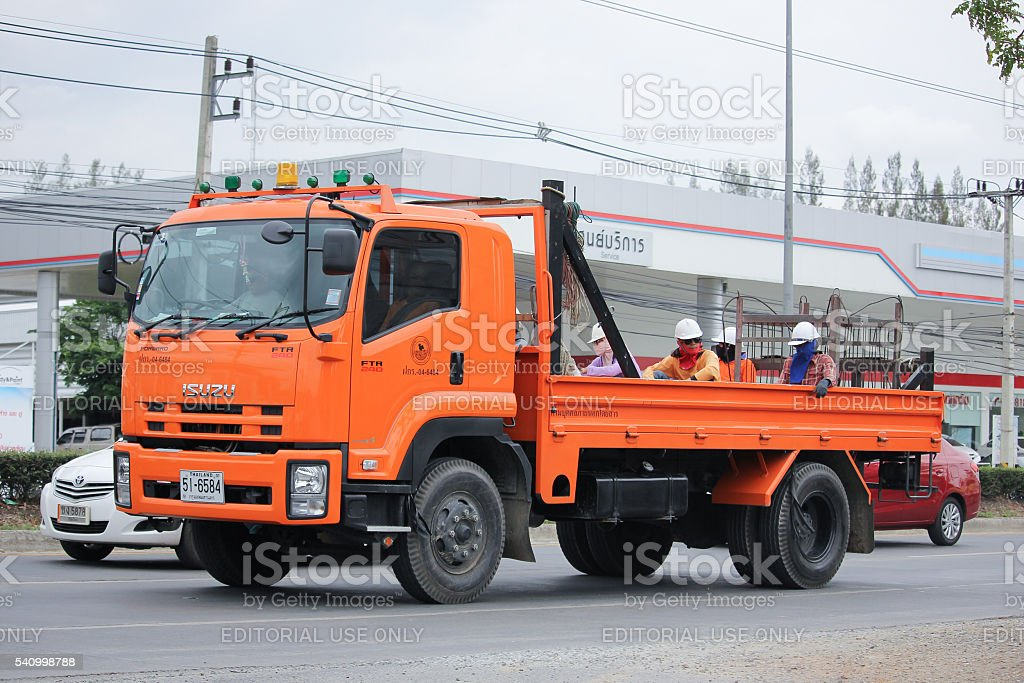 Truck of Provincial eletricity Authority stock photo