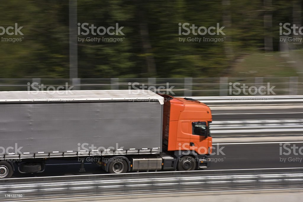 Truck on a highway road. royalty-free stock photo