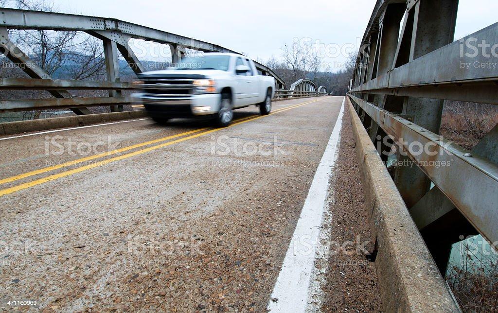 Truck on a Rusty Bridge royalty-free stock photo