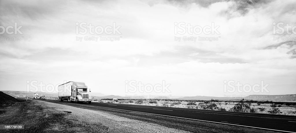 Truck on American Highway, California. Black And White royalty-free stock photo