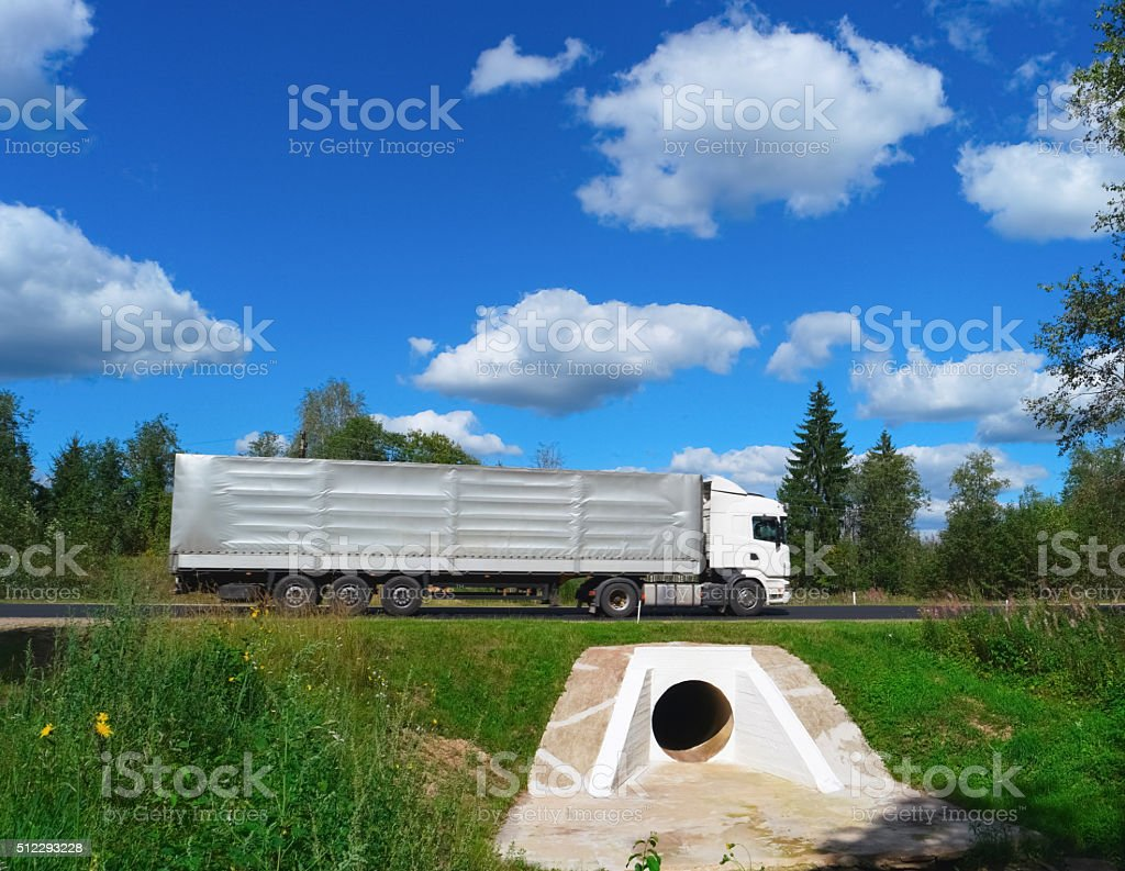 Truck on asphalt road stock photo