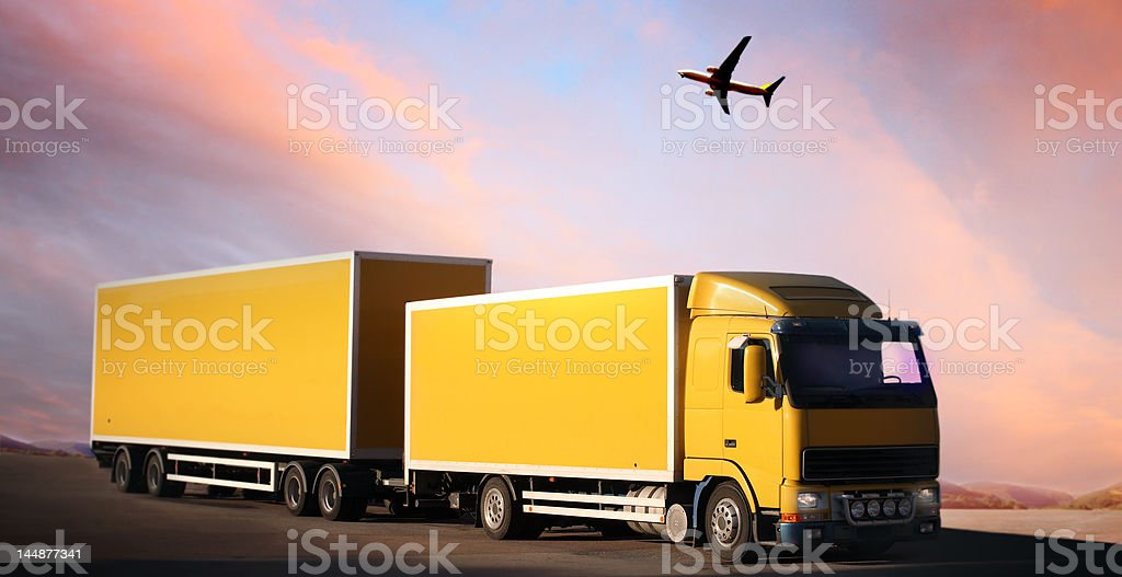 truck on country-road royalty-free stock photo