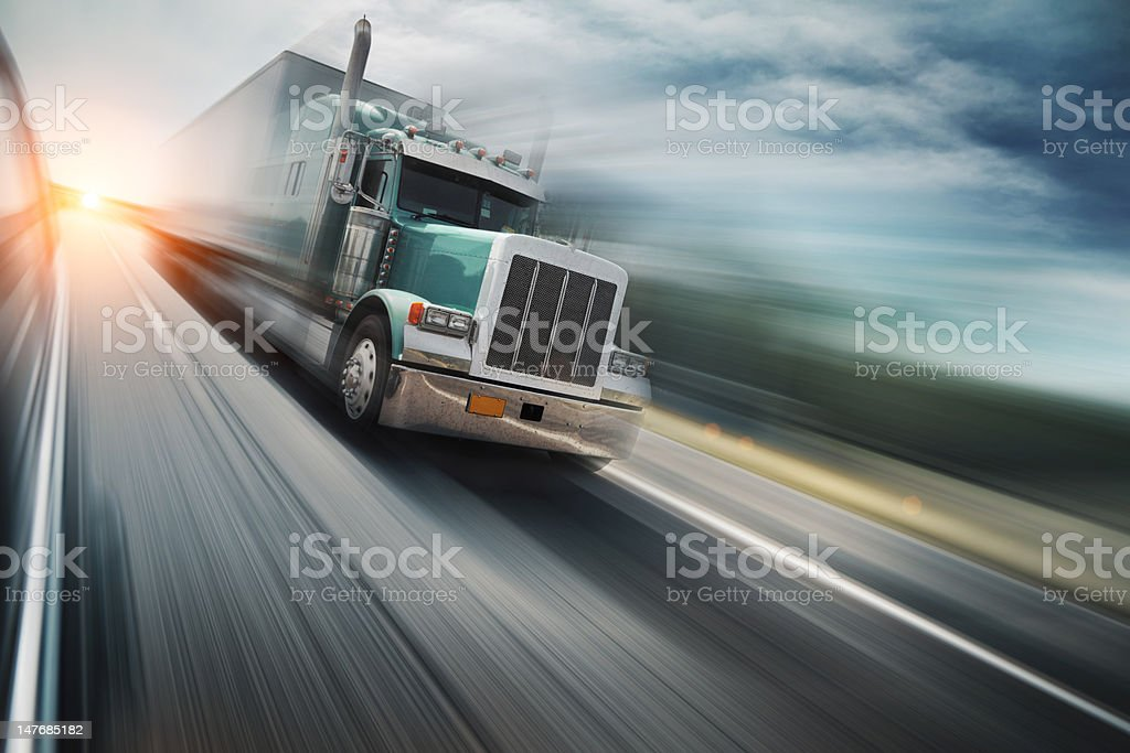Truck on freeway stock photo
