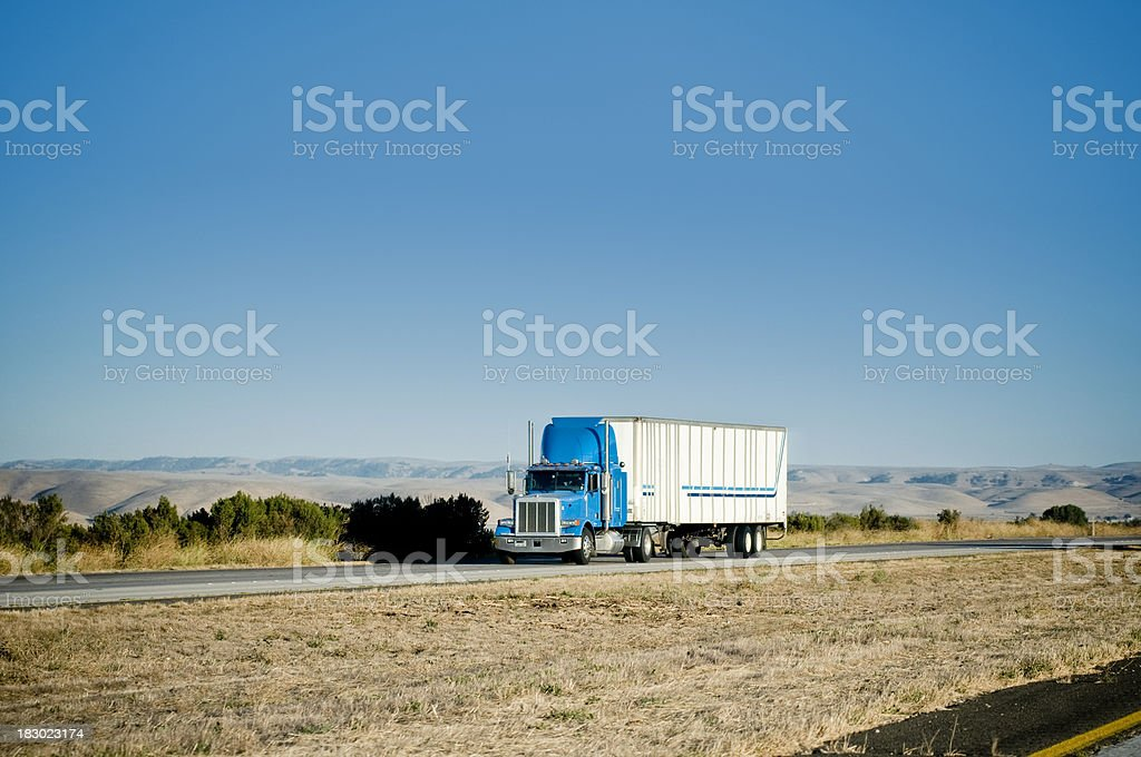 Truck on freeway royalty-free stock photo