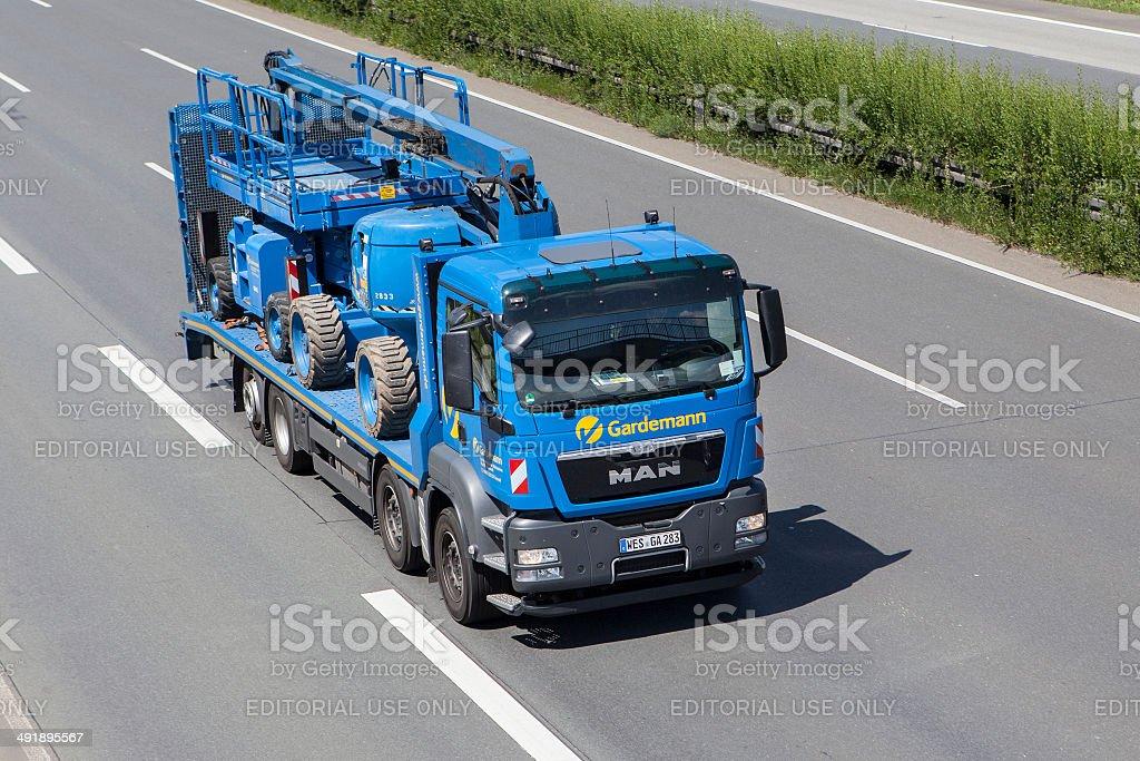 MAN truck on German highway stock photo