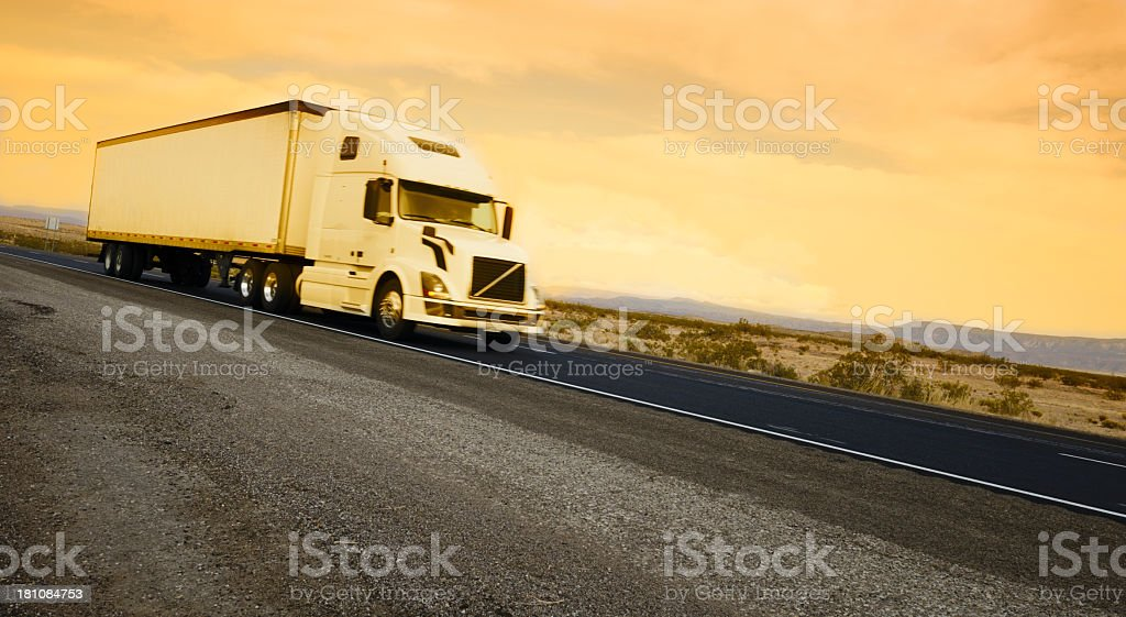 Truck on Highway at Sunset, Arizona royalty-free stock photo