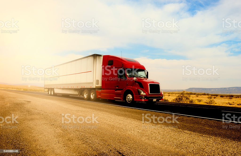 Truck on Highway, California stock photo