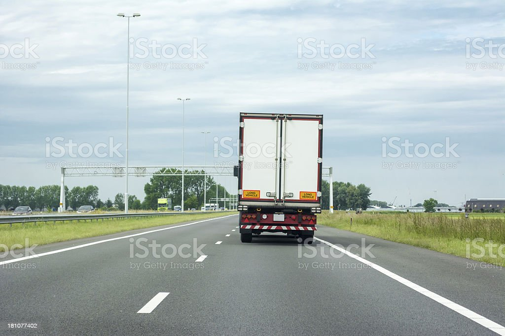 Truck  on highway (right drive) royalty-free stock photo