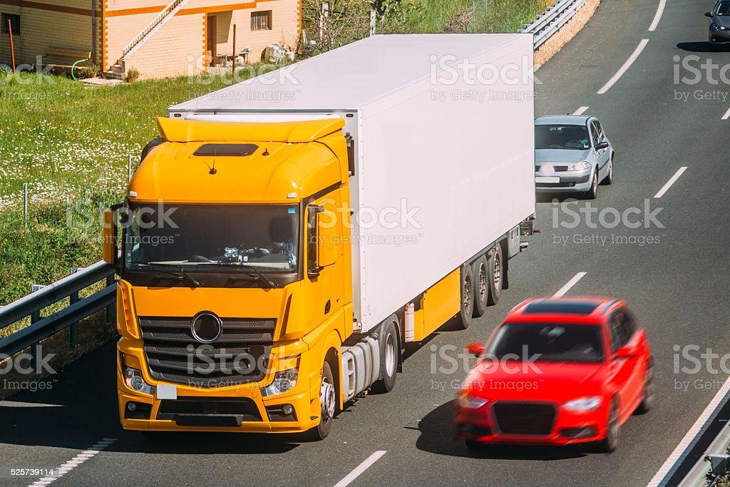 Truck on highway stock photo