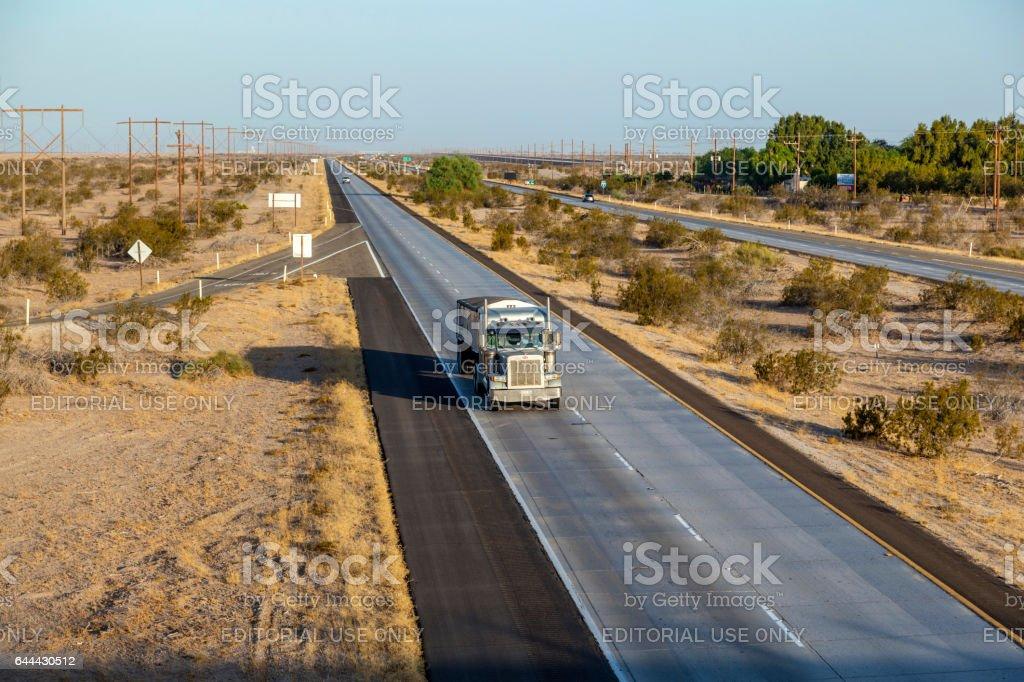 truck on  interstate 8 in the desert  of Arizona stock photo
