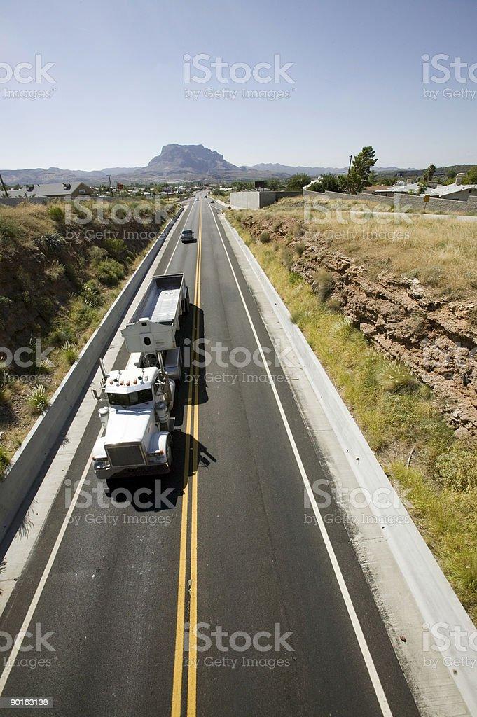 Truck on open road stock photo