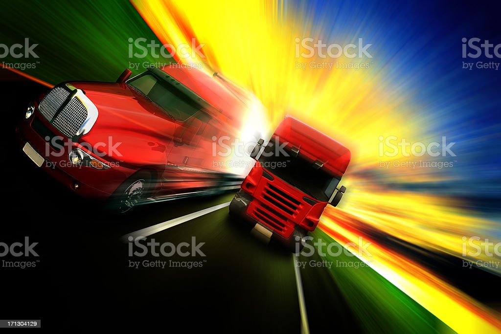 Truck on road. Transportation stock photo