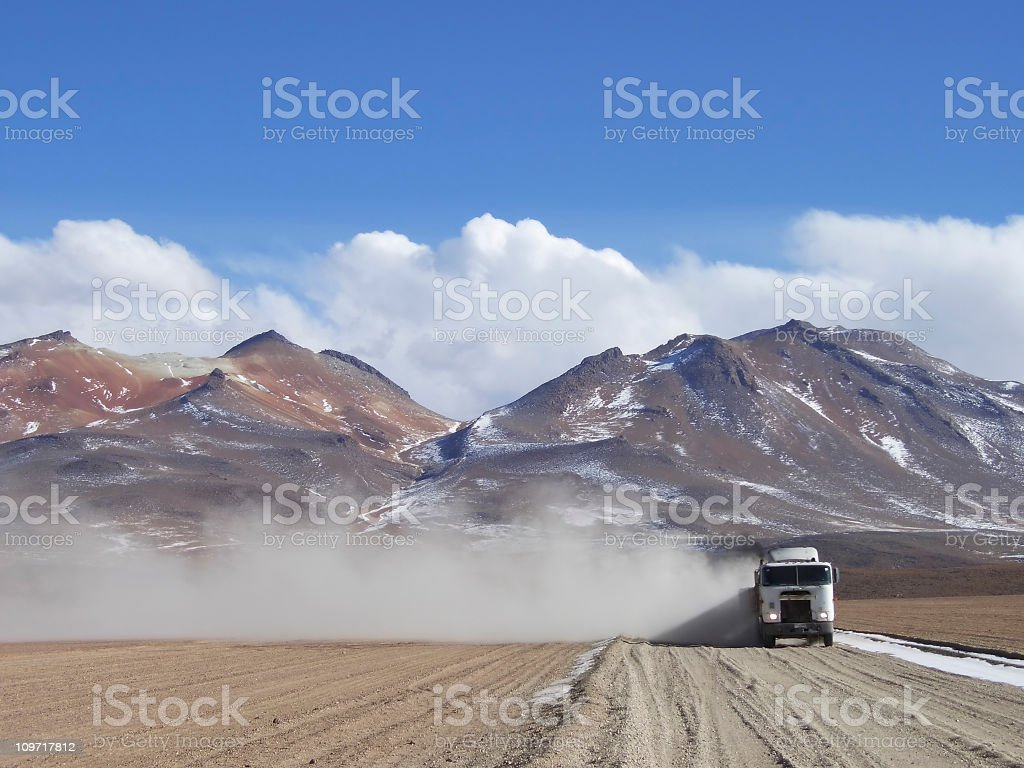 Truck on Rural Road in South American Andes stock photo
