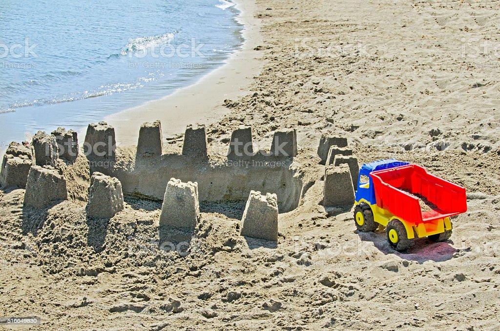 Truck on the beach stock photo
