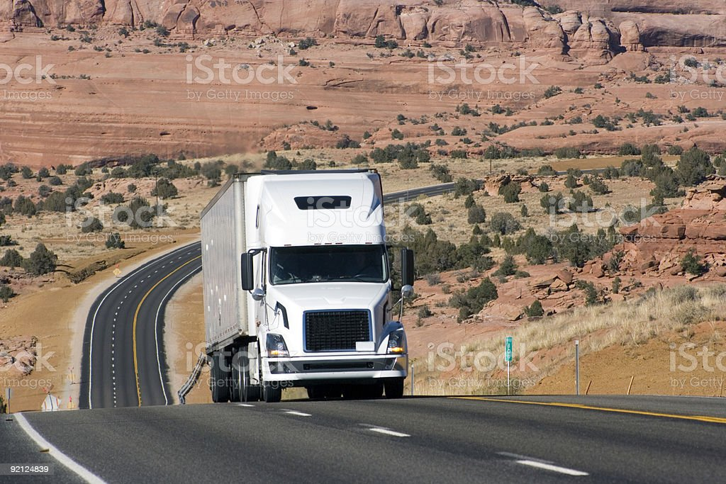 Truck on the difficult road royalty-free stock photo