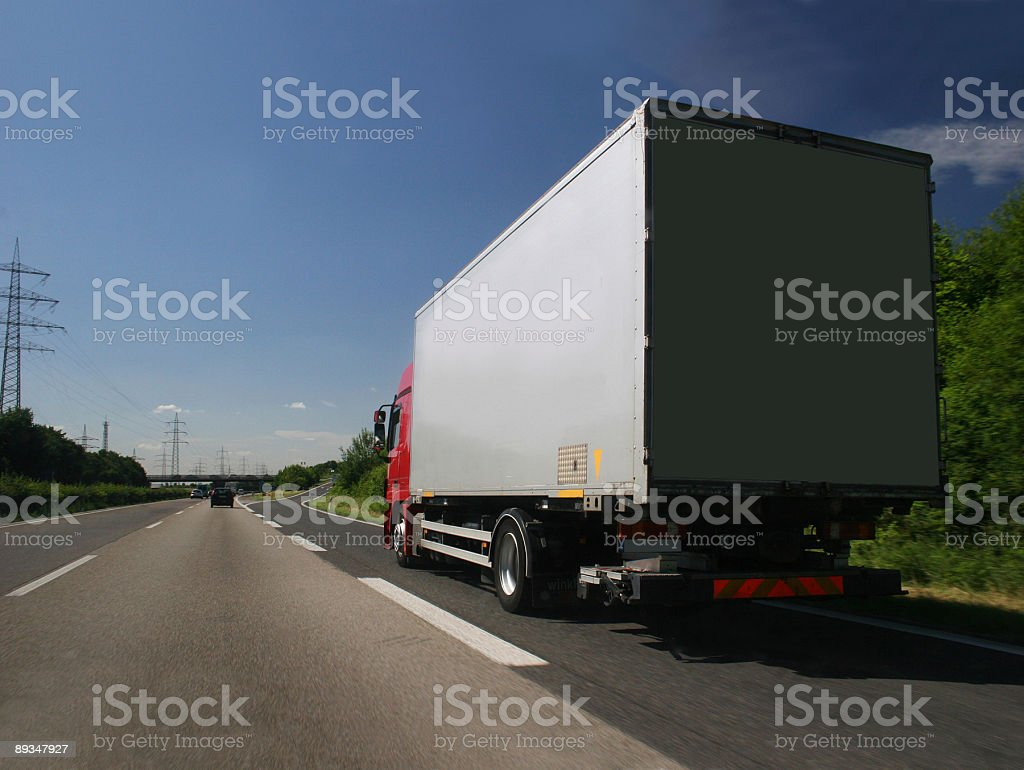 Truck on the exit lane stock photo