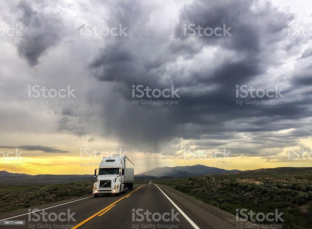Truck on the highway stock photo