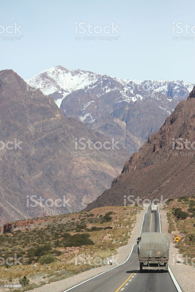truck on the international road between Mendoza and Santiago stock photo