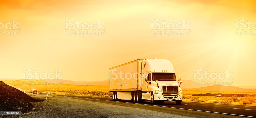 Truck on the Road, California stock photo