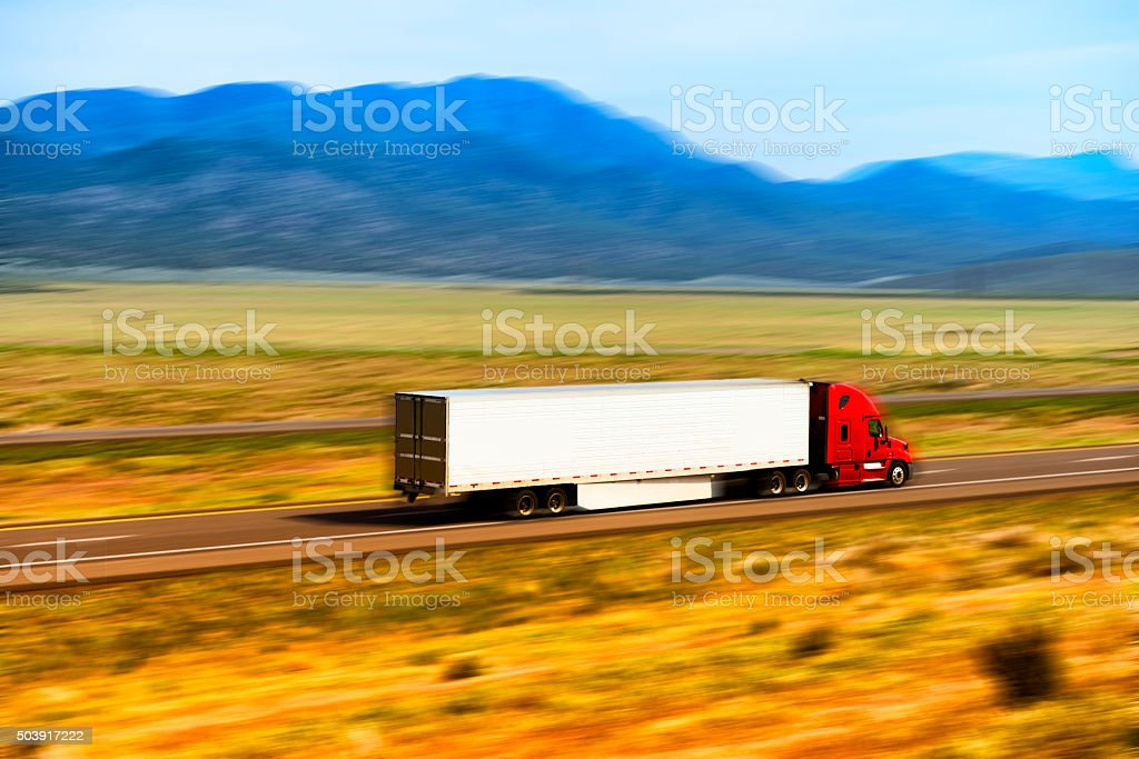 Truck on the road in USA stock photo