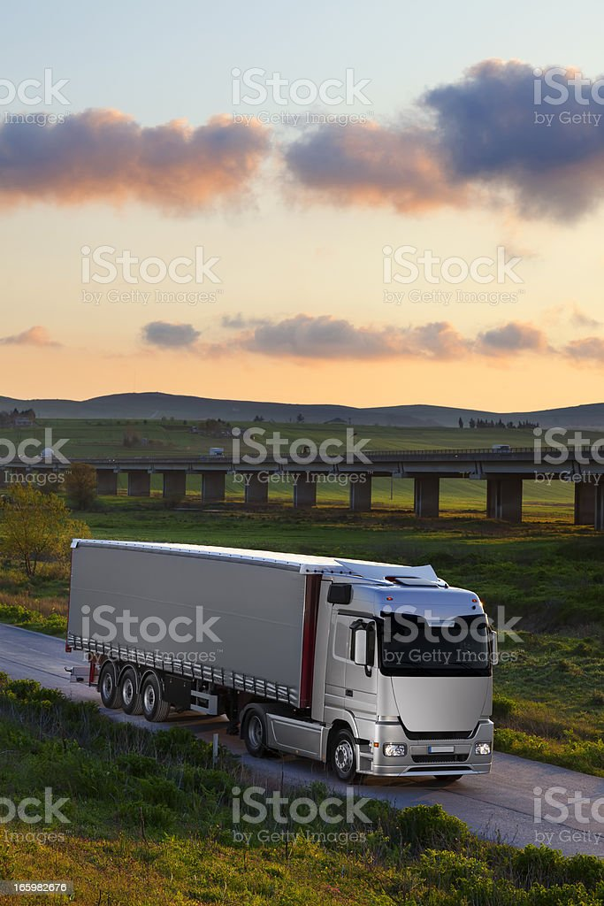 Truck on the road royalty-free stock photo