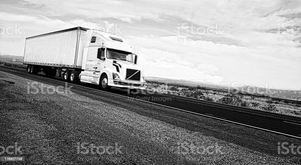 Truck on USA Highway, California. Black And White royalty-free stock photo