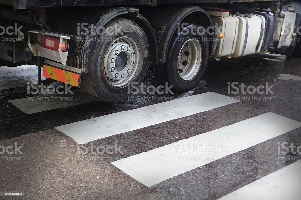 Truck on zebra crossing royalty-free stock photo