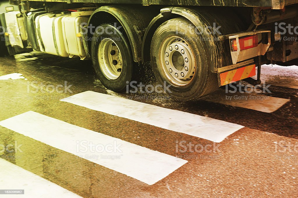 Truck on zebra crossing royalty-free stock photo
