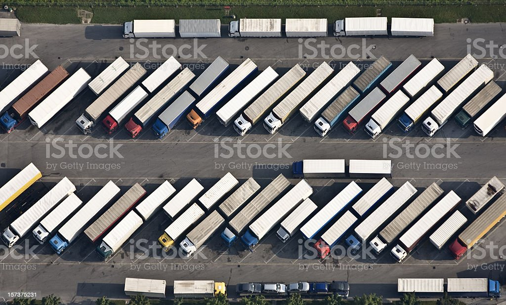 Truck parking place from above stock photo