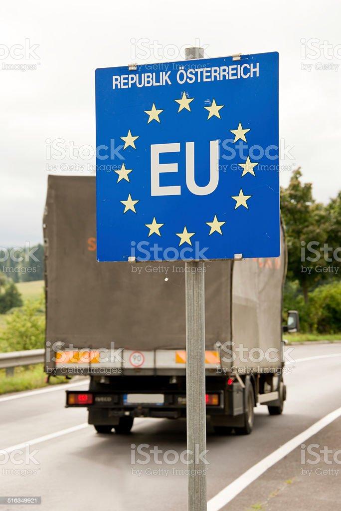 Truck passing a EU (European Union) border post stock photo