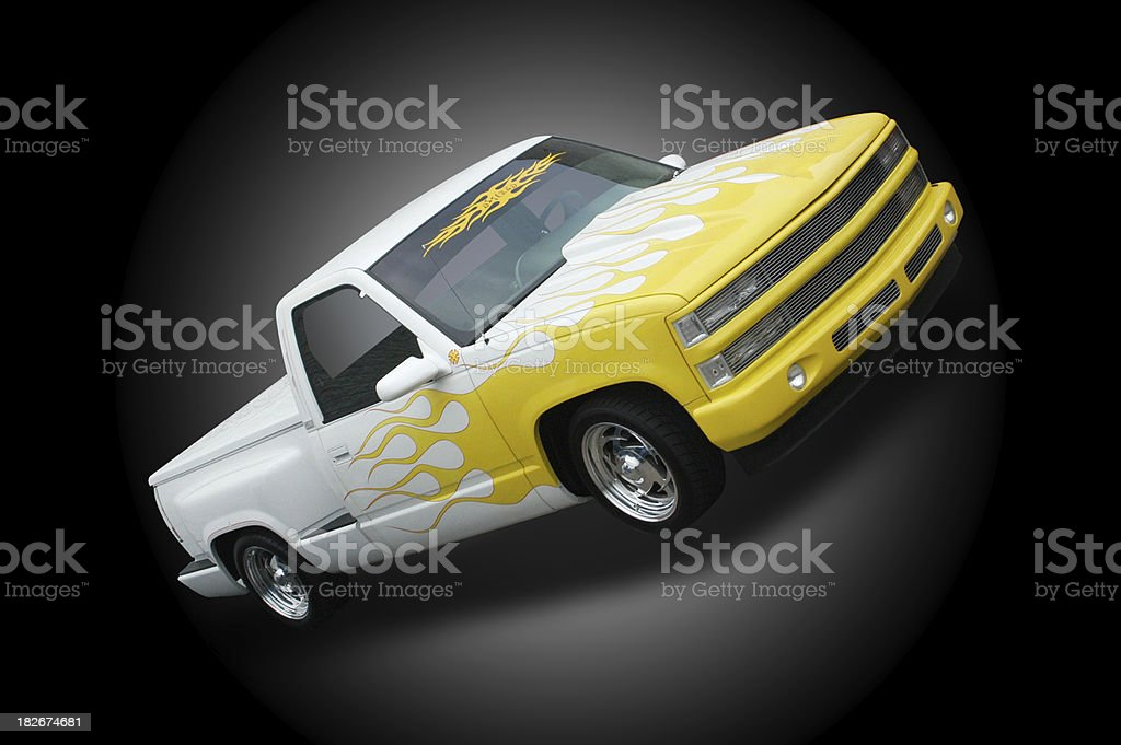 Truck - Pickup Truck In White & Yellow 2 royalty-free stock photo