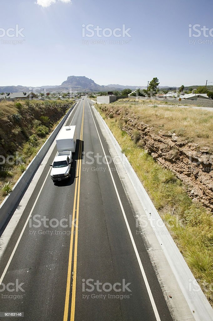 Truck pulling camper royalty-free stock photo