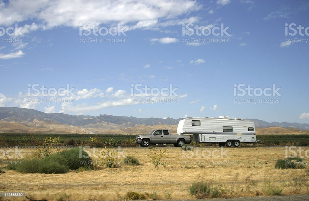 Truck Pulling Trailer stock photo