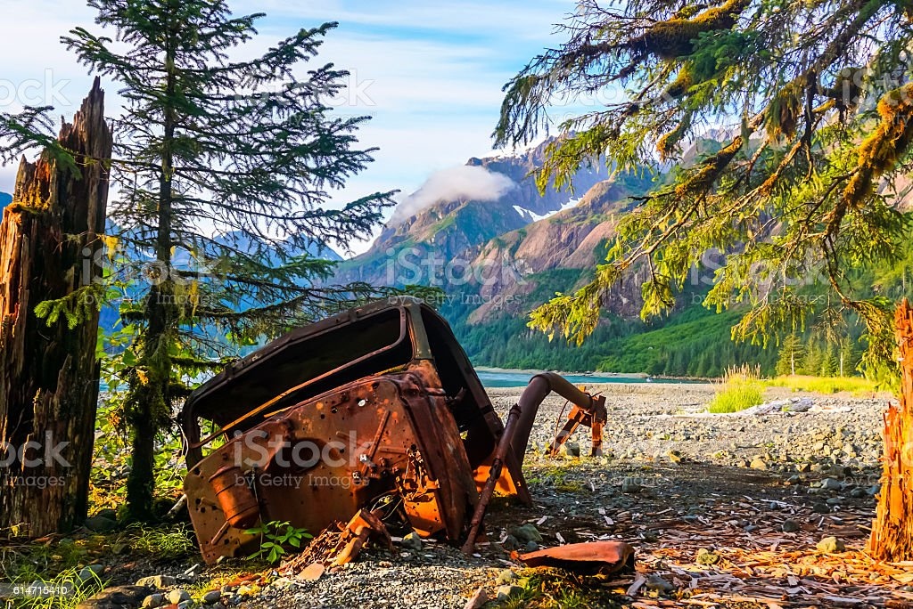 Truck rusting in the wilderness stock photo