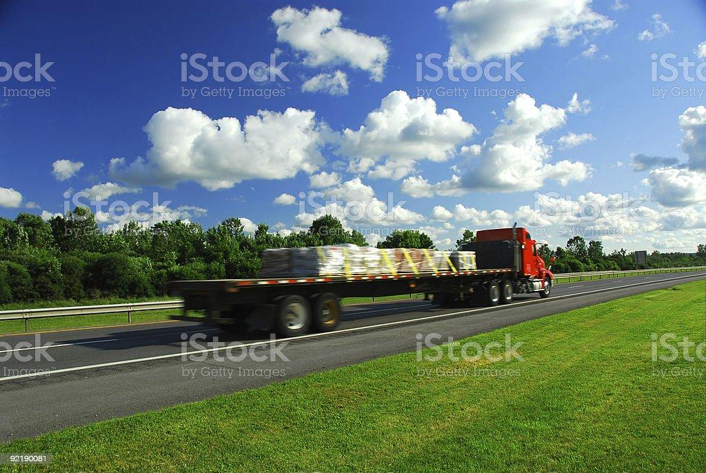 Truck speed road stock photo