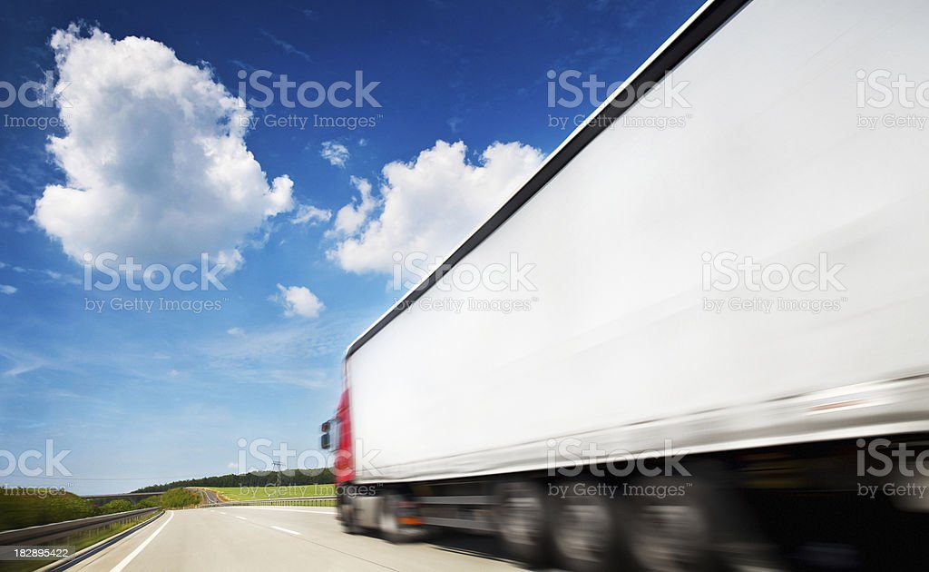 Truck Speeding On Highway stock photo