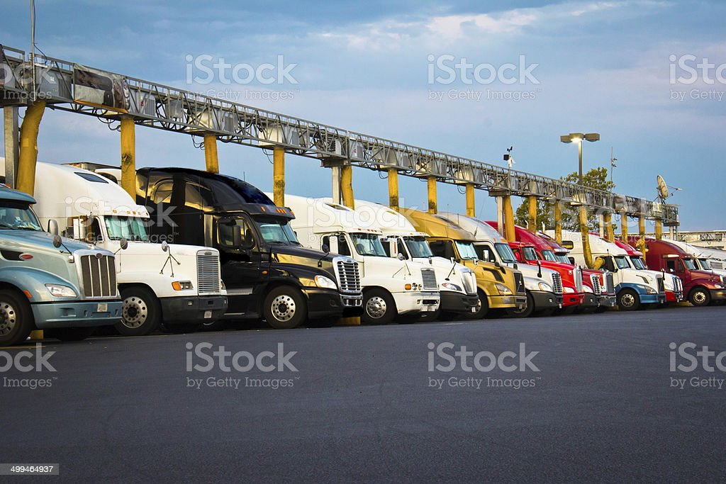 Truck stop fuel line-up stock photo