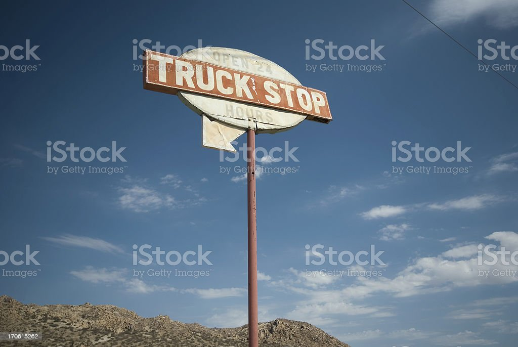 Truck Stop Sign stock photo