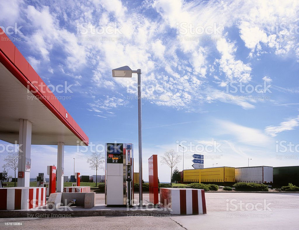 Truck stop with petrol station. stock photo