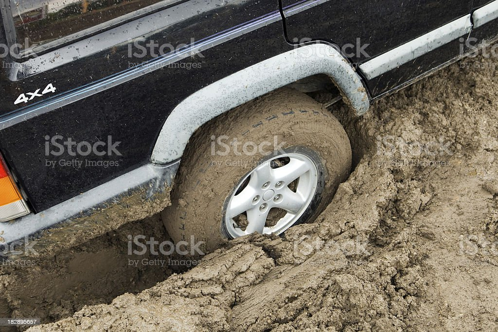 Truck Stuck in Mud after a Heavy Rain stock photo